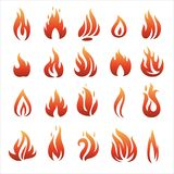 Flat fire icons. Flat fire and flames icons, vector illustration Stock Images