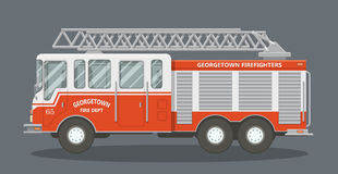 Flat fire truck. Side view of a red fire truck. Vector illustration of a fire engine Stock Photo