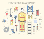 Flat firefighter uniform and first help equipment set and instruments. On flat style background concept. Vector Royalty Free Stock Photography
