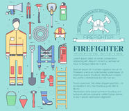 Flat firefighter uniform and first help equipment set and instruments. On flat style background concept. Vector Stock Photos