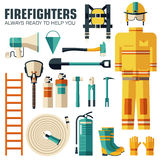 Flat firefighter uniform and first help equipment set and instruments. On flat style background concept. Vector. Flat firefighter uniform and first help Royalty Free Stock Photo