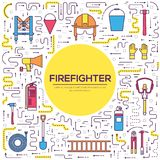 Flat firefighter uniform and first help equipment set and instruments. On style background concept. Vector illustration. Colorful template for you thin line Stock Photo