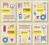 Flat firefighter uniform vector brochure cards thin line set. first help template of flyear, magazines, posters, book. Cover, banners. Layout  instruments Stock Image