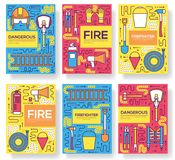 Flat firefighter uniform vector brochure cards thin line set. first help template of flyear, magazines, posters, book. Cover, banners. Layout  instruments Stock Photography