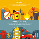 Flat Firefighting Banners. Flat design extinguishing media and fire safety tools horizontal banners set on colorful backgrounds  vector illustration Stock Image