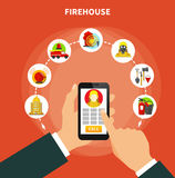Flat Firefighting Concept. Firefighting concept with firehouse work and equipment icons flat vector illustration Stock Photo