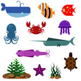 Flat fish vector icons set Royalty Free Stock Photos