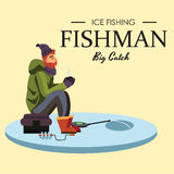 Flat fisherman hat sits on bag with spin fishing rod in hand and catches bucket, Fishman crocheted spin into the ice Stock Image
