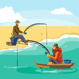 Flat fisherman hat sits on boat with trolling fishing rod in hand and catches bucket, Fishman crocheted spin into the. Sea waiting big fish funny vector Royalty Free Stock Image