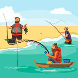Flat fisherman hat sits on boat with trolling fishing rod in hand and catches bucket, Fishman crocheted spin into the. Sea waiting big fish funny vector Stock Photos