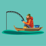 Flat fisherman hat sits on boat with trolling fishing rod in hand and catches bucket, Fishman crocheted spin into the Royalty Free Stock Photo