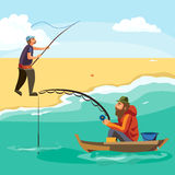 Flat fisherman hat sits on boat with trolling fishing rod in hand and catches bucket, Fishman crocheted spin into the. Sea waiting big fish funny vector Royalty Free Stock Photo