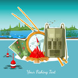 Flat fishing background with fishing accessories Royalty Free Stock Images