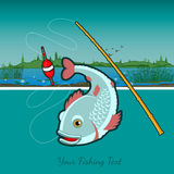Flat fishing background with fishing rod and fish on river Royalty Free Stock Images