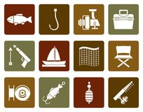 Flat Fishing and holiday icons. Vector icon set Stock Photography