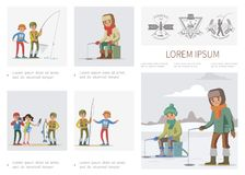 Flat Fishing Infographic Template vector illustration