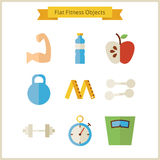 Flat Fitness and Dieting Objects Set Stock Image