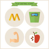 Flat Fitness Dieting Website Icons Set. Vector Illustration. Flat Circle Icons for web. Sport and Fitness. Collection of Healthy Lifestyle Objects. Sport Royalty Free Stock Images