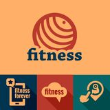 Flat fitness emblems Royalty Free Stock Photo