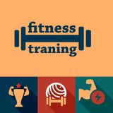 Flat fitness and health emblems Royalty Free Stock Photo