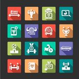 Flat fitness and health icons set Stock Photo