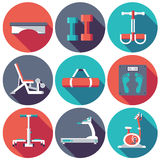 Flat fitness sport gym exercise equipment workout Royalty Free Stock Photos