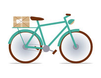 Flat fixed-gear bike with a package. Box royalty free illustration