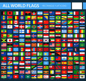 Flat Flag Icons on Black Background - All World Vector. Illustration Stock Images