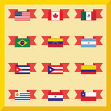 Flat flags, north and south america Stock Photo