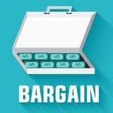 Flat flip-flop bargain money case concept. vector Stock Image