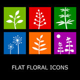 Flat Floral Icons. Isolated on black. Vector plant symbols in metro style Royalty Free Stock Photography