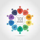 Flat flower shaped abstract presentation infographic chart. Numbered with icons. Royalty Free Stock Photography