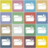 Flat folder icon set with color background Stock Image
