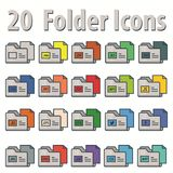 20 Flat folder icons. For your utilities Royalty Free Stock Photo