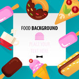 Flat Food Background for Web and Mobile Stock Images