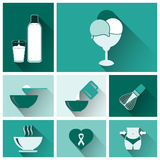 Flat food and drinks icons Royalty Free Stock Images