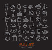 Flat food icons black Royalty Free Stock Image