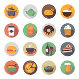 Flat Food Icons in Circles Stock Images