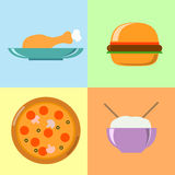 Flat food icons. Colorful food icons, flat illustrations Stock Photos