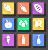 vector flat food icons Royalty Free Stock Images