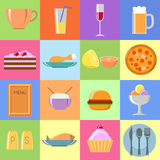 Flat food icons Set. Colorful food icons, flat illustrations for restaurant Stock Photos