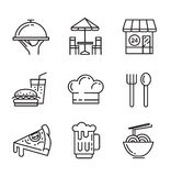 Flat food icons. Vector black flat food icons on white Stock Image