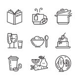 Flat food icons. Vector black flat food icons on white Royalty Free Stock Photos