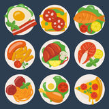 Flat food icons. Vector flat food icons of defferent dishes Stock Images