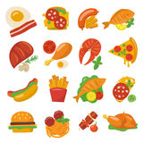 Flat food icons. Vector flat food icons of defferent dishes Stock Photography
