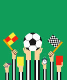 Flat Football referees card. Flat style design.Football referees card Stock Images