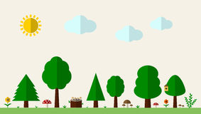 Flat forest background with trees, grass and mushrooms. Vector illustration Stock Photo