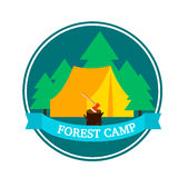 Flat Forest Camping Round Logo Template Stock Images