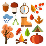 Flat forest icon set. Autumn forest flat icons. Simple and cute icons for your design Royalty Free Stock Images