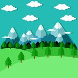Flat Forest and Mountains Stock Image
